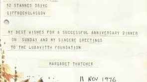 Thatcher Writes To Lubavitch....
