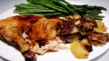 Red Wine Chicken with Porcini Mushrooms and Whole Shallots